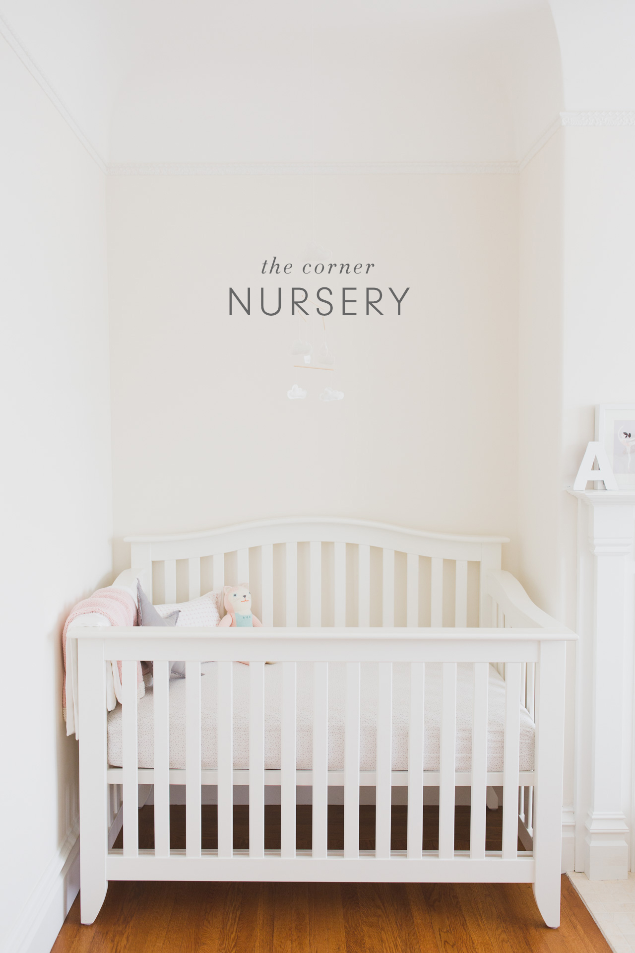 The Corner Nursery | Kaley Ann on nursery sets and collections, crib in our bedroom, baby crib in bedroom, nursery in guest bedroom,