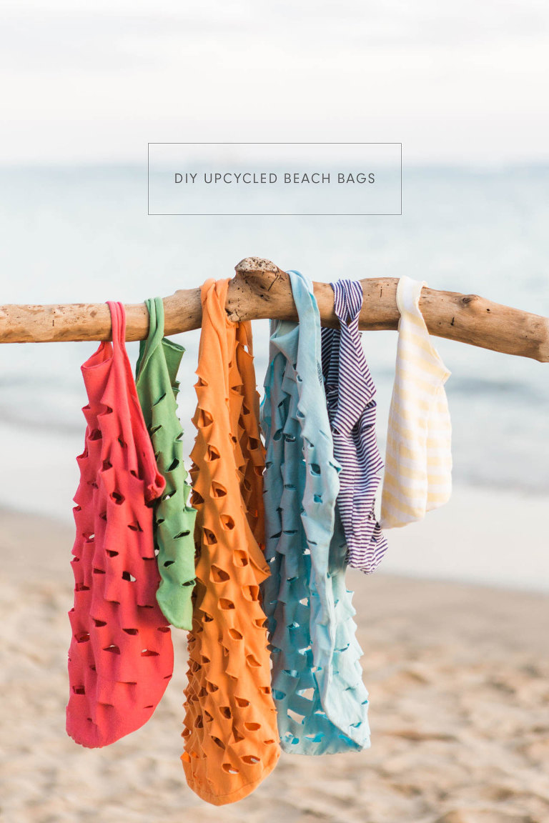 DIY Upcycled Beach Bags - give your old t-shirts a second life!